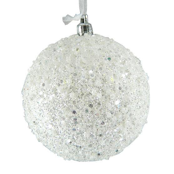 Christmas Forever Beaded Ball Ornament - White - XM-BA2215SP