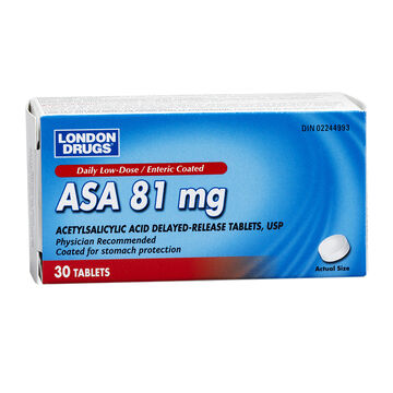 London Drugs ASA 81mg Low Dose Tablets - 30'S
