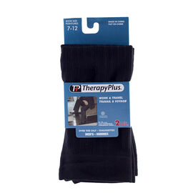 Therapy Plus Over the Calf Socks - Black - 2 Pair - Size 7 to 12
