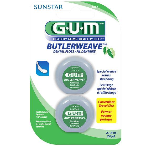 G.U.M. ButlerWeave Floss - Mint Waxed - 2x10.9m
