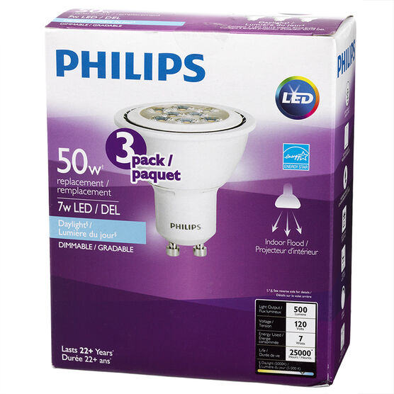 Philips GU10 LED Bulb - Daylight - 7w=50w - 3 pack