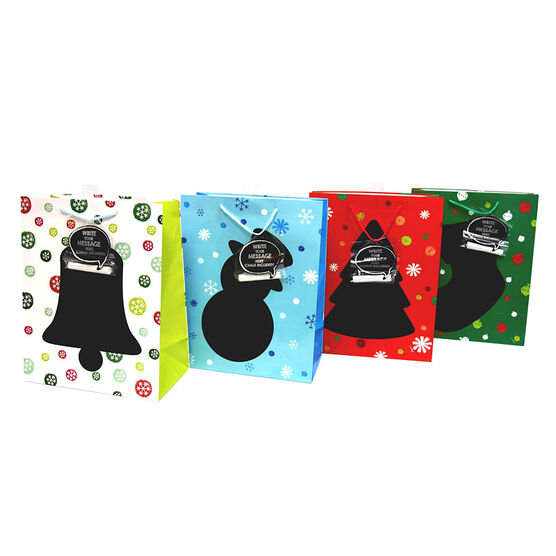 Christmas Gift Bags with Chalk Message - Large - Assorted