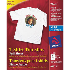 Avery T-Shirt Transfers - White - 12's - 3275