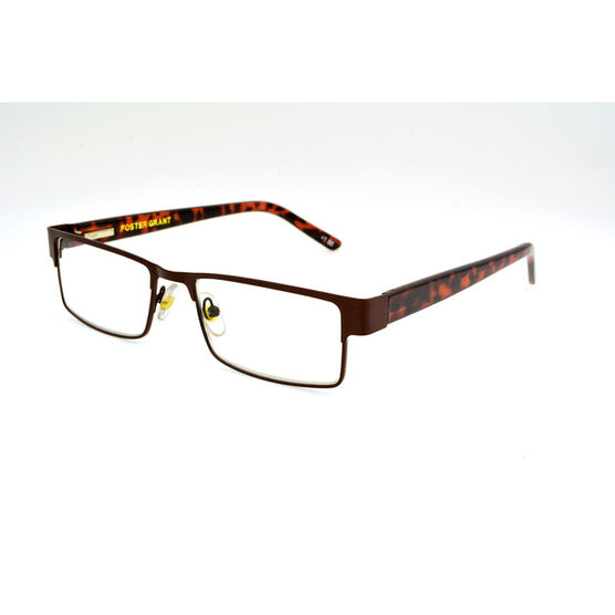 Foster Grant Chip Reading Glasses with Case - Brown/Tortoiseshell - 2.00