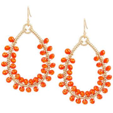Haskell Beaded Drop Hoop Earrings - Orange/Gold
