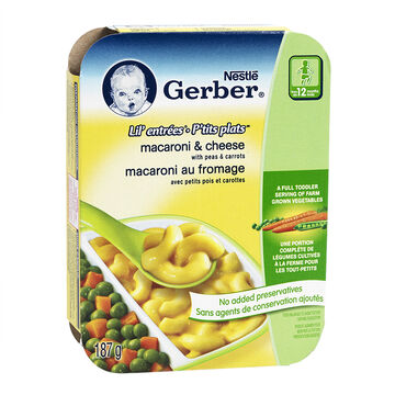 Gerber Graduates Lil' Entrees - Macaroni & Cheese with Peas & Carrots - 187g