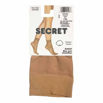 Secret Cotton Ankle High - Nude