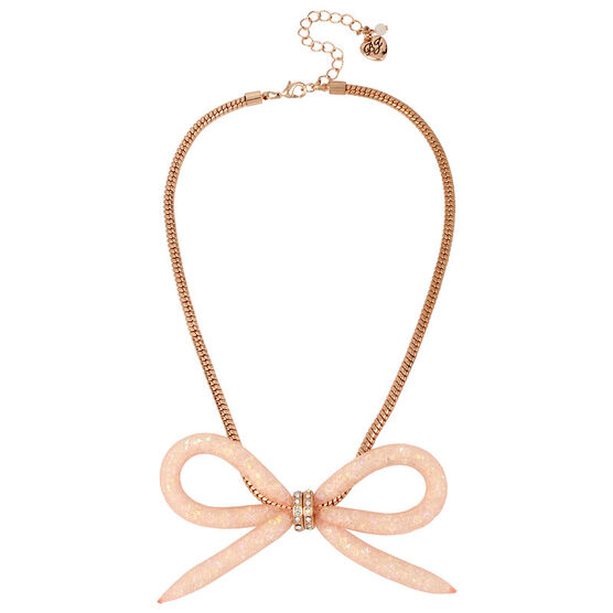 Betsey Johnson Confetti Bow Necklace - Rose Gold