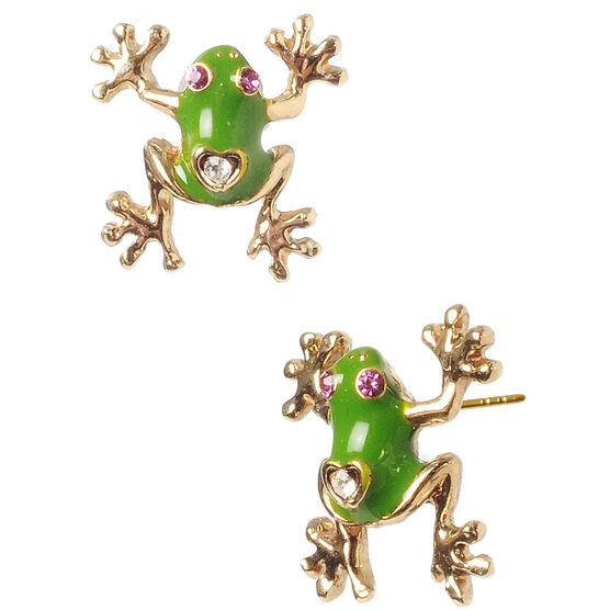 Betsey Johnson Frog Stud Earrings - Green