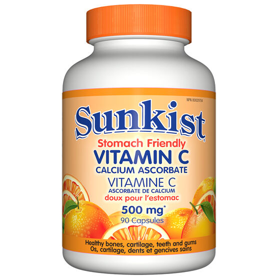 Sunkist Stomach Friendly Vitamin C Calcium Ascorbate - 500mg  - 90's