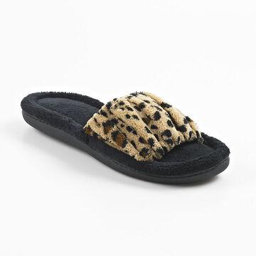 Isotoner Slide-on Ruched Slipper - Cheetah - Extra Large