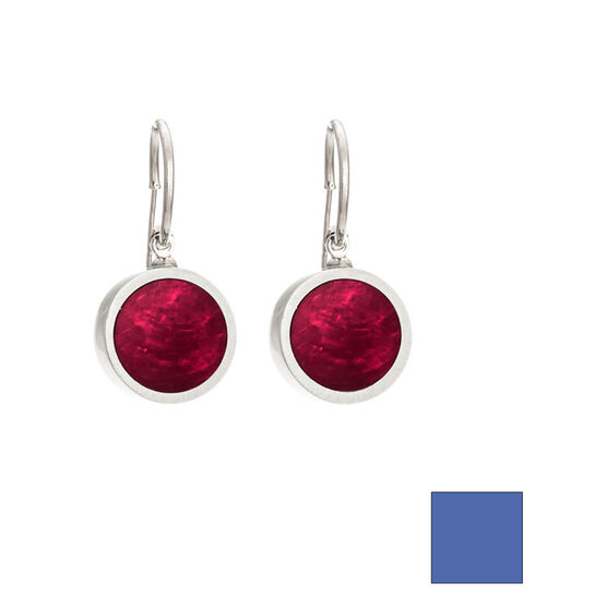 Merx Reversible Circle Resin Shell Drop Earrings - Pink/Blue