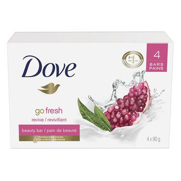 Dove Go Fresh Revive Beauty Bar - Pomegranate & Lemon Verbena - 4 x 90g