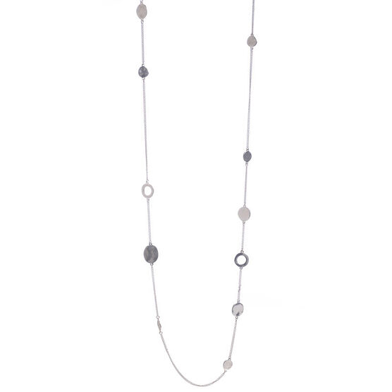 Kenneth Cole Circle Long Illusion Necklace - Silver Tone