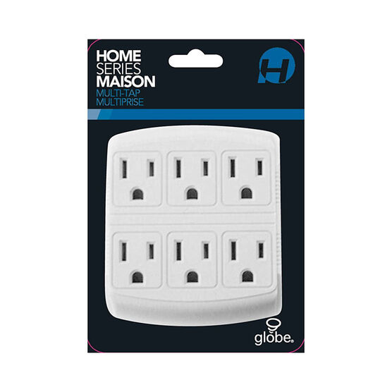 Globe 6 Outlet Tap - Grounded - White