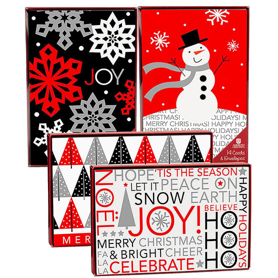 American Greetings Christmas Cards - Red & Black - 14 count - Assorted
