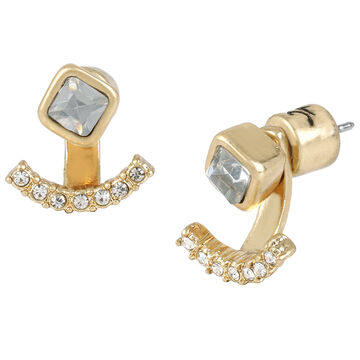 Kenneth Cole Ear Jacket Stud Earrings - Crystal/Gold Plated