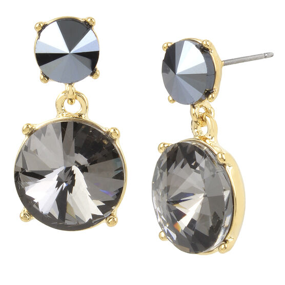 Kenneth Cole Drop Earrings - Black Diamond/Gold