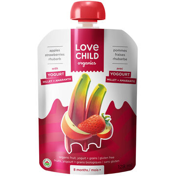 Love Child Apples Strawberry Rhubarb with Yogurt - 128ml