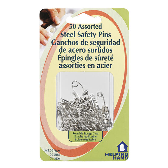 Helping Hand Assorted Steel Safety Pins - 50 pack
