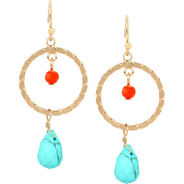 Haskell Round Drop Earrings - Turquoise/Gold