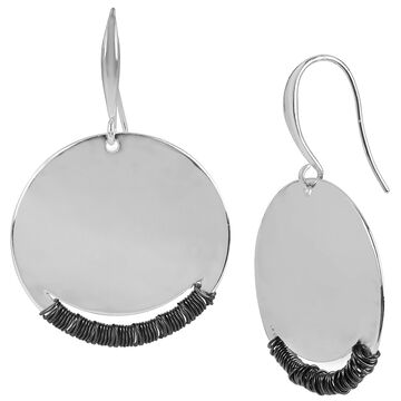 Robert Lee Morris Silver Plated Disc Drop Earrings - Hematite