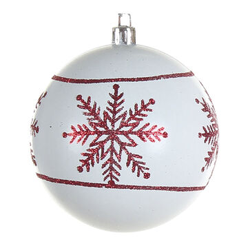 Winter Wishes Candy Cane Lane Ball Ornament - White Snowflake
