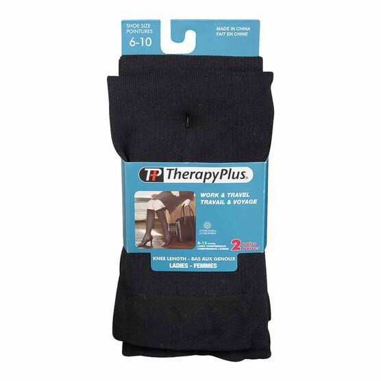 Therapy Plus Ladies Knee High Socks - Black - 2 Pair -  Size 6 to 10