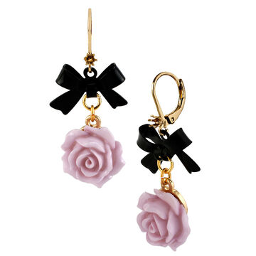 Betsey Johnson Flower Bow Drop Earrings - Purple