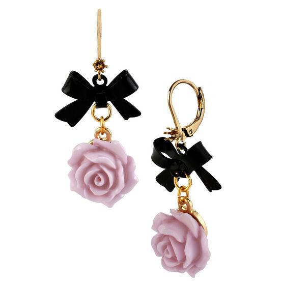 Betsey Johnson Flower Bow Drop Earrings - Purple
