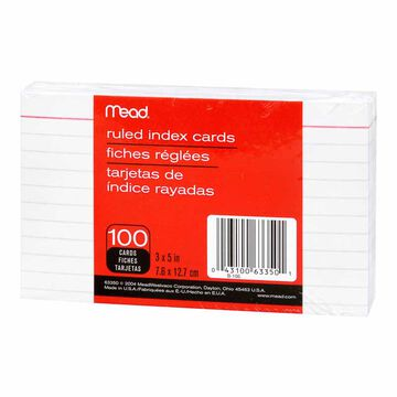 Mead Index Cards - Ruled - 3 x 5 - 100 pack