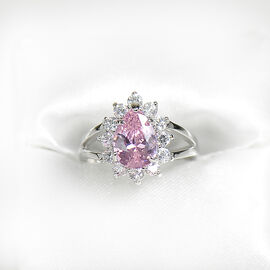 Marca Pink and Clear Cubic Zirconia Ring - Size 8