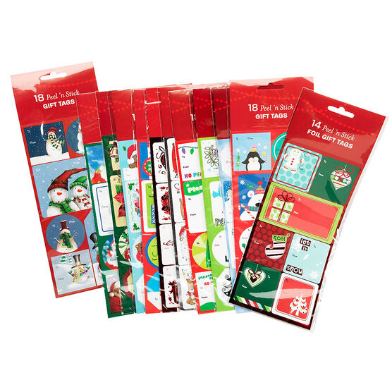 Christmas Peel 'n Stick Gift Tags  - 14/18's - Assorted