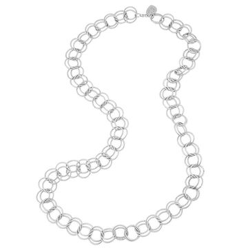 Betsey Johnson Circle Link Necklace - Silver Tone