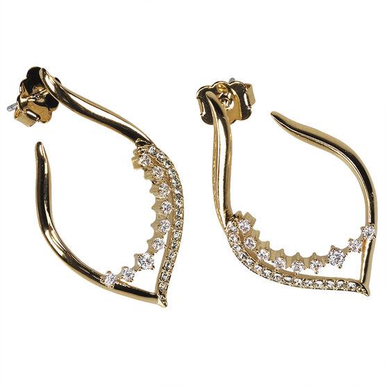 Eliot Danori Padma Marquise Hoop Earrings - Gold