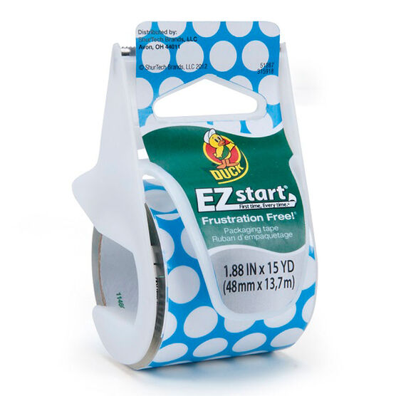 Duck Blue Dot Ez Start Packaging Tape - 1.8inch x 22yards