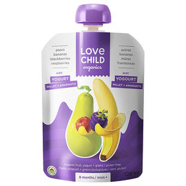 Love Child Pears Bananas Blackberries Raspberries with Yogurt - 128ml