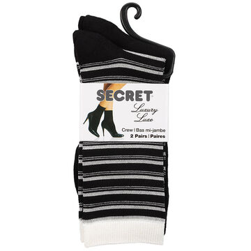 Secret Luxury Lurex Striped Crew Sock - Black - 2 pair
