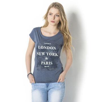 Lava London Printed Tee - Denim - T-CITIA