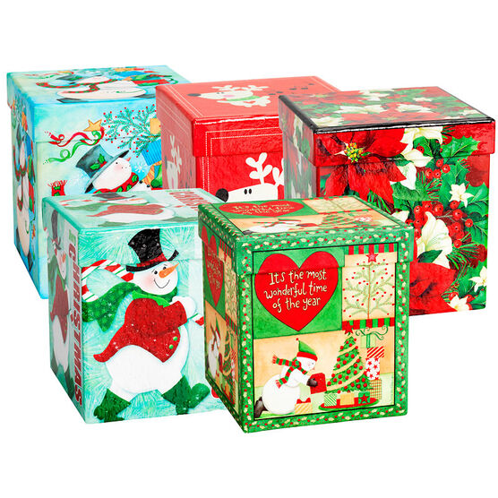 Christmas Gift Boxes - Square - Assorted