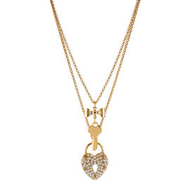 Betsey Johnson Heart and Key 2 Row Necklace - Gold Tone