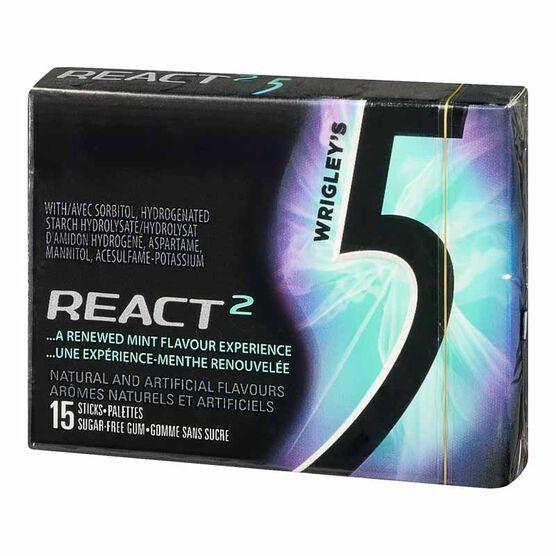 Wrigley's 5 Gum - React Mint - 15 pieces