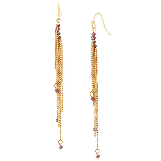 Haskell Linear Earrings - Berry/Gold