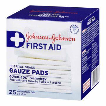 Johnson & Johnson Gauze Pads - 3 x 3-inch - 25's