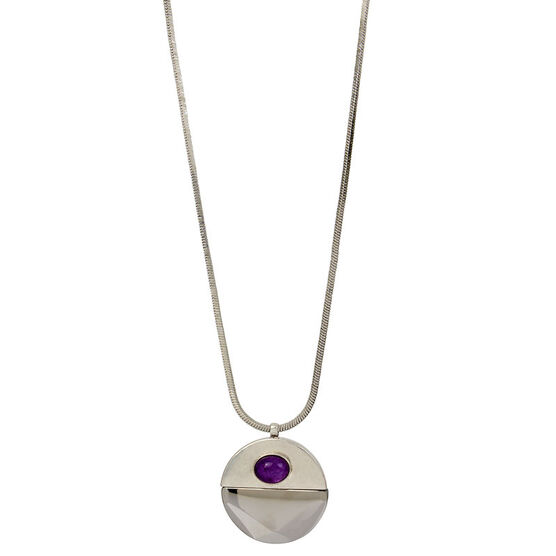 Kenneth Cole Round Pendant Necklace - Abalone/Silver