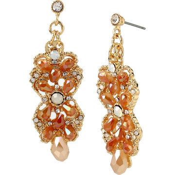 Haskell Chandelier Earrings - Peach/Gold