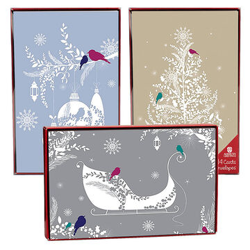 American Greetings Christmas Cards - Christmas Birds - 14 count - Assorted