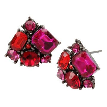 Betsey Johnson Cluster Stud Earrings - Pink/Multi
