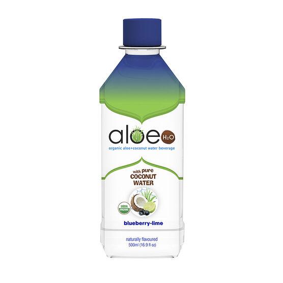 Aloe H20 Organic Aloe + Coconut Water Beverage - Blueberry-Lime - 500ml