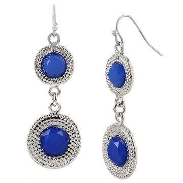 Haskell Two Circle Drop Earrings - Blue/Rhodium
